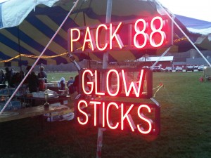 <b>LED Changable Sign</b><br>SpellBrite helps the local Scouts find where to obtain their glow sticks for the evening fun.<br><i>(SpellBrite Red letters used – the intense brightness of the red letters can make them look white or orange in photos.)</i>